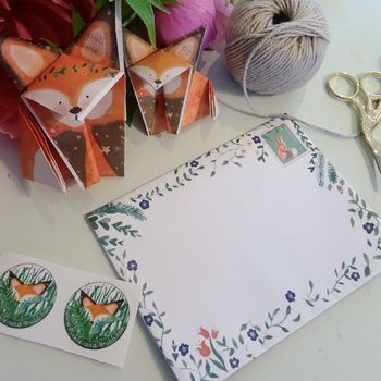 Origami Fox Pen Pals Children's Writing Set