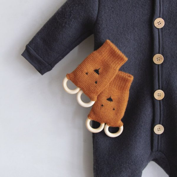 Button and Blue Teething Mittens
