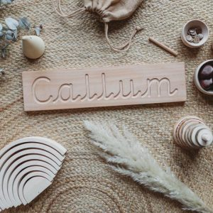 Wooden name tracing board