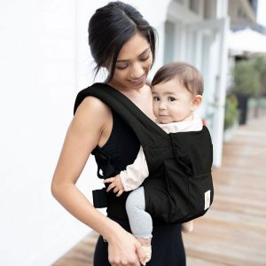 The classic, Ergobaby Original baby carrier is comfortable and convenient. It has a big storage pocket to carry all your essentials while on the go and is great for carrying older babies on your back.