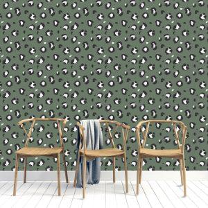 Sage Leopard Print Wallpaper