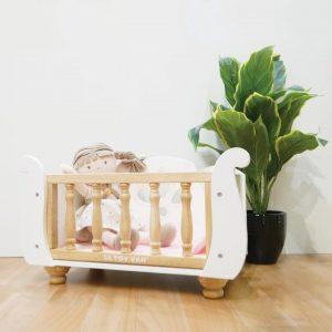 wooden dolls cot