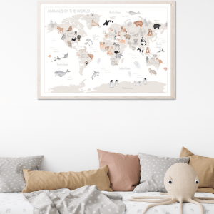 World map with animals, world map fine art print, world map nursery print