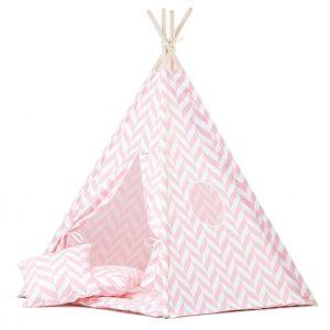 Wigiwama Pink Herringbone Teepee Set