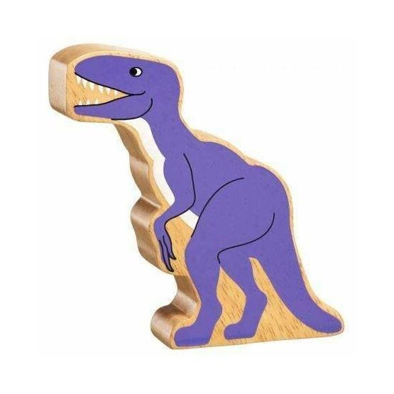 This chunky wooden velociraptor dinosaur figure has a purple design with a beautiful wood grain edge - each one is unique! Add this dinosaur to any children's toy collection for hours of play at a pocket money price. This natural purple velociraptor is: printed on both sides with a purple design showing a natural wood grain edge