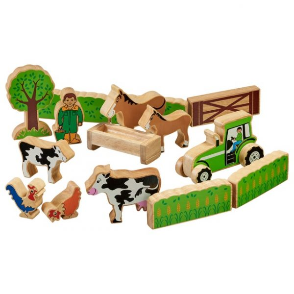 Farmer's field set with colourful characters