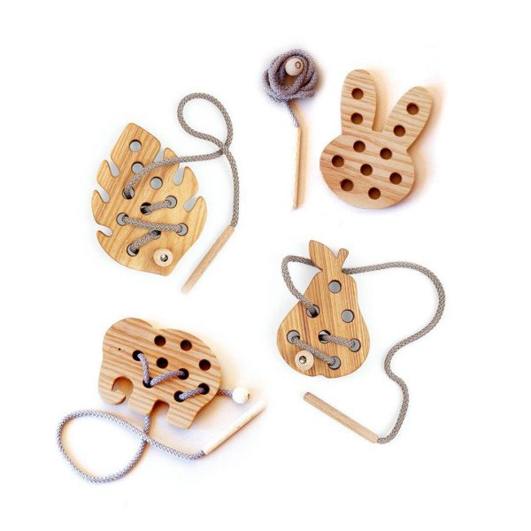 Blossom And Bear Wooden Lacing Toy